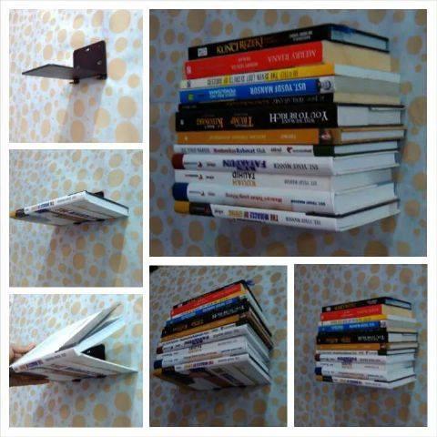 Rak Buku Dinding, Buku Terlihat Melayang | Rak Buku, Rak Buku Modern.