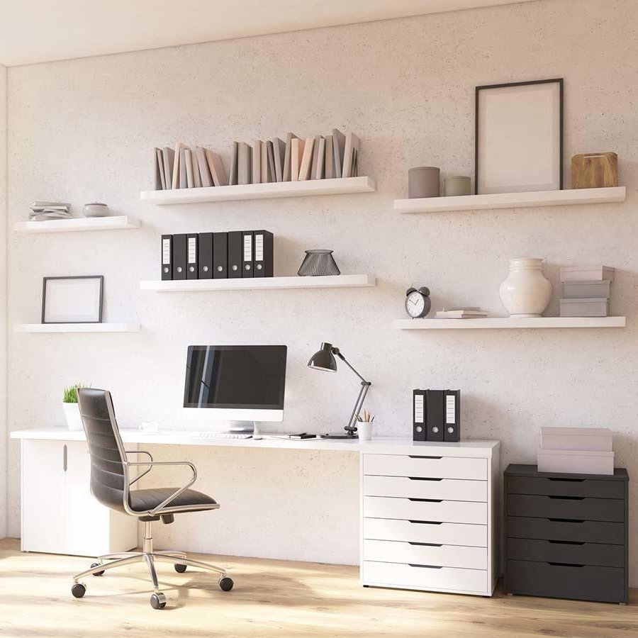 Room in flat, table at window, shelves above. Concept of workplace. Mock up. 3D render